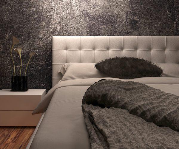 White huge bed against dark black wall